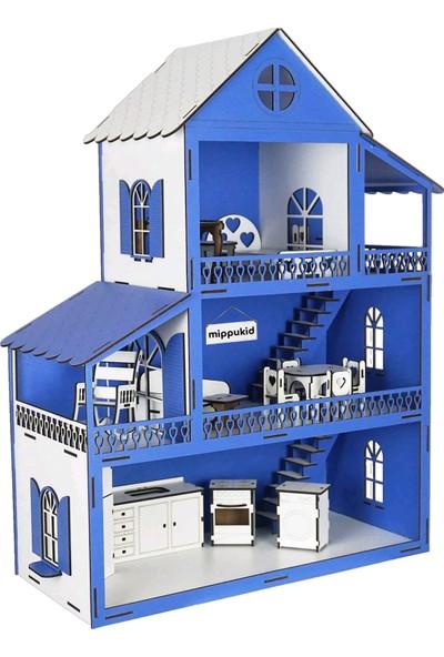 Mippukid Ahşap Oyun Evi Üç Katlı 32 Parça Mobilyalı Mavi