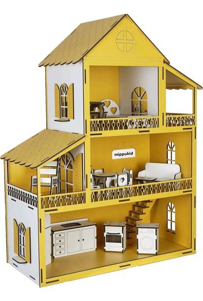 Mippukid Ahşap Oyun Evi Üç Katlı Ahşap Mobilyalı Sarı
