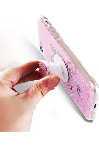 Mor Apple iPhone 7 Kılıf Pop Soketli Desenli Silikon Vale Açık