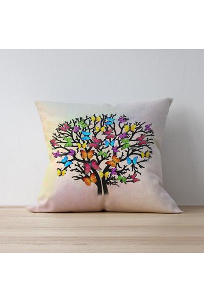 ALA Renkli Ağaç Kelebekler Kırlent Kılıfı 42 x 42 cm