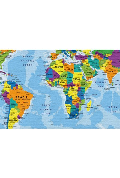 Harita Sepeti Detaylı Dünya Haritası Kanvas Tablo