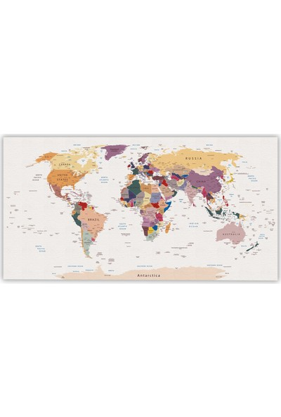 Harita Sepeti Klasik Dünya Haritası Kanvas Tablo