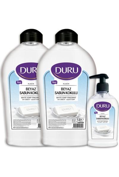 Duru Beyaz Sabun Kokulu Sıvı Sabun 1,5+1,5+300ml