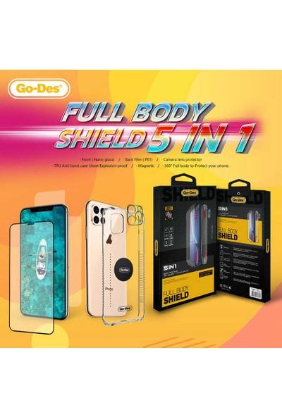 Fujimax Samsung Galaxy S10 Plus Ön ve Arka Koruyucu + Şeffaf Silikon Kılıf + Kamera Koruyucu + Manyetik Tutucu Levhalı 5in1 Set