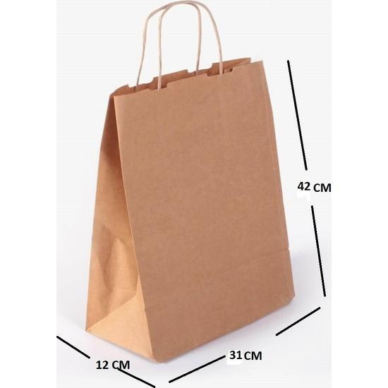 Kraft Çanta Kağıt Poşet Çanta 250'LI 31 x 42 x 12 cm