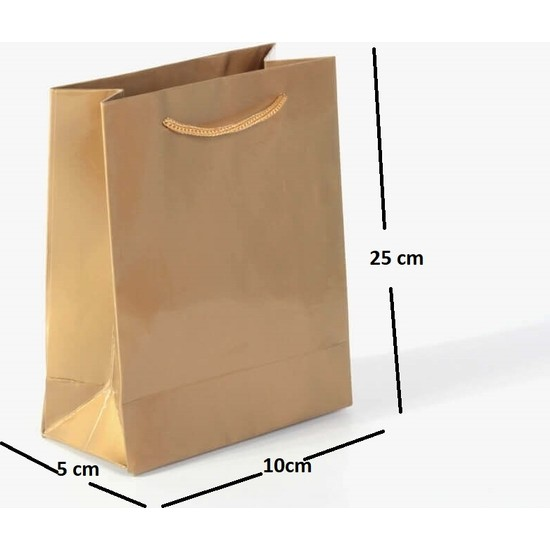 Kraft Çanta Ip Saplı Karton Çanta 25'li 10 x 25 x 5 cm