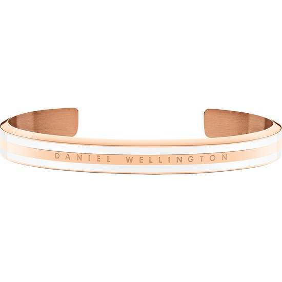 Classic Slim Bracelet Rose Gold Satin White Small -