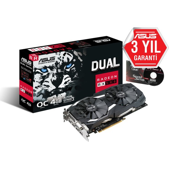 ASUS AMD DUAL-RX580-O4G 4GB 256Bit GDDR5 PCI-E 3.0 Ekran Kartı