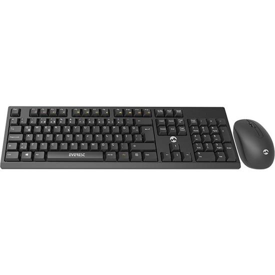 Everest KM-2510 Kablosuz Q Multimedia Klavye + Mouse Set Siyah
