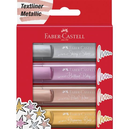 Faber-Castell Fosforlu Kalem 46 Metalik Renkler 4'lü Karton