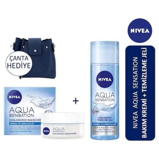 Nivea Aqua Sensation Canlandırıcı Yüz Temizleyici Jeli 200 ml + Nivea Aqua Sentation Bakım Kremi 50 ml + Çanta