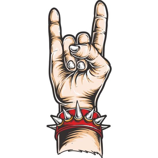 Sticker Fabrikası Rock & Roll El İşareti Sticker 6 x 14,5 cm Renkli
