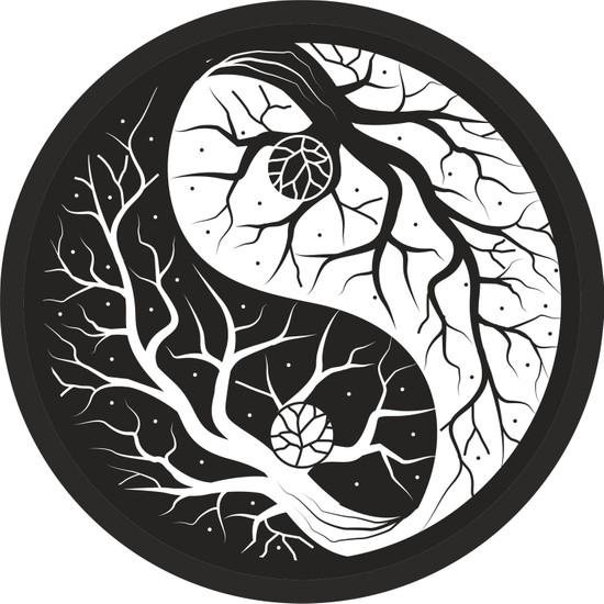 Sticker Fabrikası Yin Yang Ağaç Sticker 9 x 9 cm Siyah