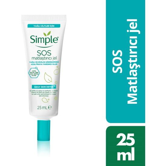 Simple Daily Skin Detox SOS Yağlı/Karma Ciltler İçin SOS Sivilce Jeli / Matlaştırıcı Jel 25 Ml