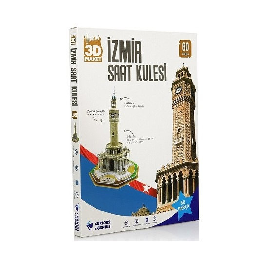 Curious&Genius Izmir Saat Kulesi 60 Parça 3D Puzzle