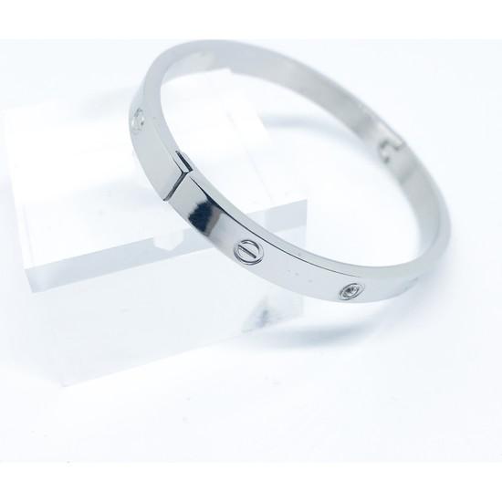 Supra Silver Cartier Model Paslanmaz Çelik Kelepçe Tasarım Bileklik