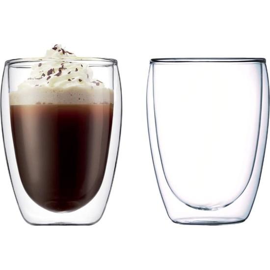 Troy Çift Cidarlı Bardak Double Wall Glass Latte Bardağı 2'li Set 350 ml 12 Oz