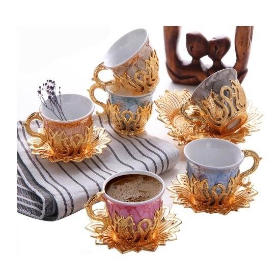 Busem Ahsen Lale Desenli 6 Kişilik Mix Türk Kahve Seti 18 Parça Altın Renkli