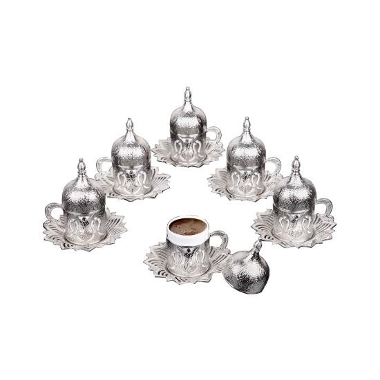 Busem Ahsen Kapaklı Lale Desenli 6 Kişilik Türk Kahve Seti Gümüş Renkli