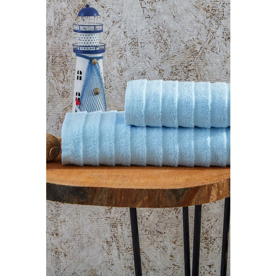 Laura Bella Laodikya 2'li Banyo Havlu Seti Mavi
