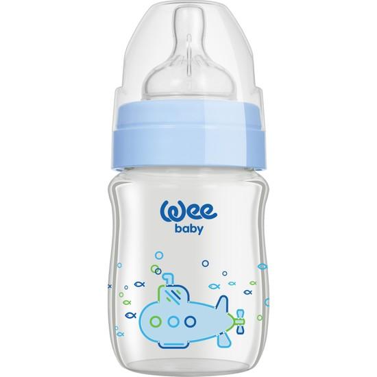 Wee Baby Klasik Plus 120 ML Geniş Ağızlı Isıya Dayanıklı Cam Biberon - Mavi