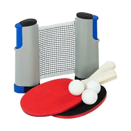 Akat Masa Tenisi Ayarlanabilir Portatif File Seti ( 2 Adet Raket + 3 Adet Pinpon Topu )