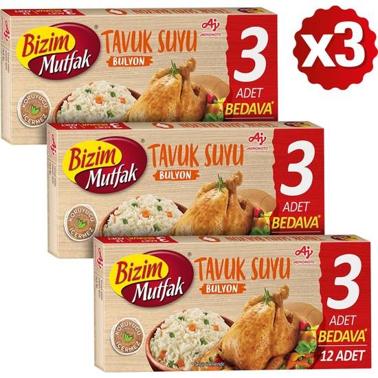 Bizim Mutfak Tavuk Suyu Bulyon 12'li 120 gr x 3'lü Paket