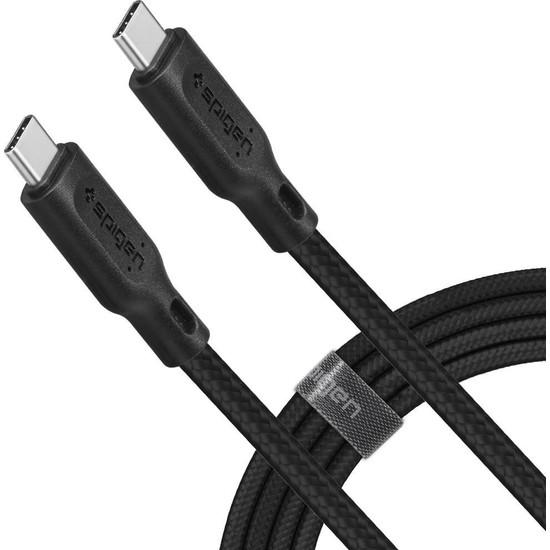 Spigen DuraSync USB-C to USB-C 60W Hızlı Şarj ve 480mb/s Data Hızı Kablo (1.5 Metre) C11C1 Black - 000CA25702