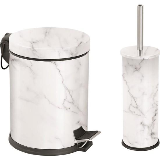 Foreca Mermer Desen Banyo Seti Beyaz 2'li