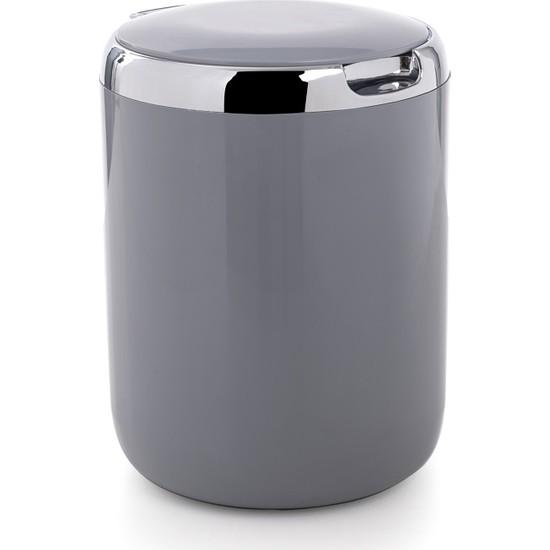 Primanova Pasıfıc Mutfak Tezgah Üstü Plastik Kapaklı Çöp Kovası 3 Lt - Gri