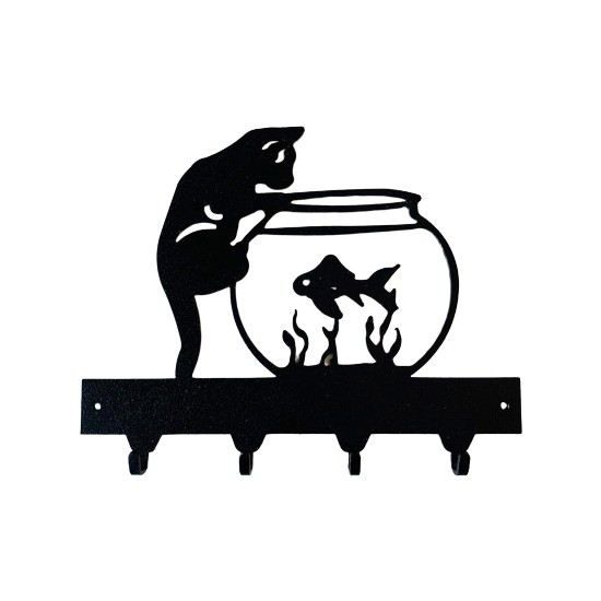 Foccaa Dizayn Metal Anahtar Askılık Meraklı Kedi Balık