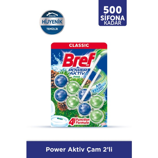 Bref Power Aktiv Katı Tuvalet Bloğu İkili, Çam Kokulu 2x50gr