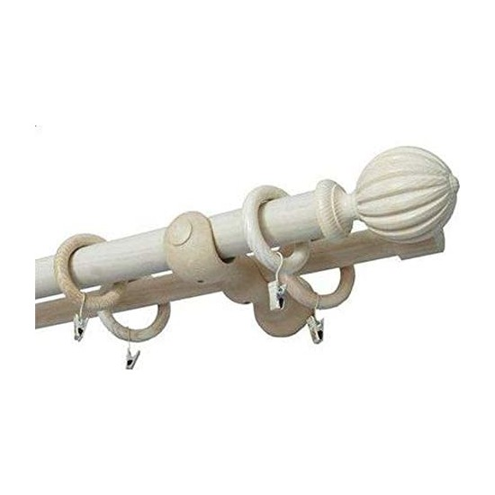 Gardinia Dişbudak Ağacı Ahşap Perde Rustiği Baron 25 mm - 35 mm Çift Raylı