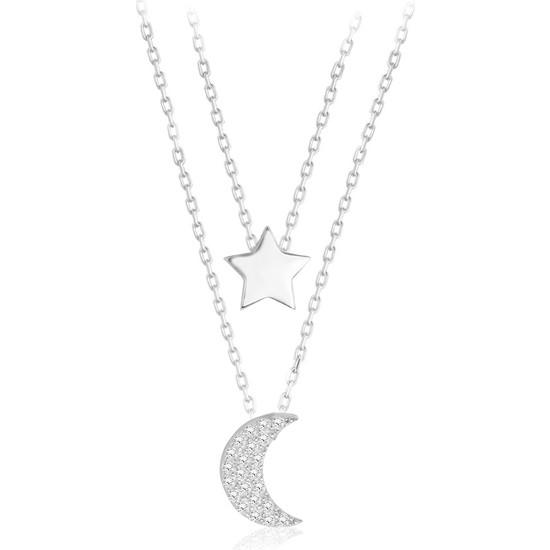 Swarovski Kadın Gümüş Zirkon Taşlı Ay Yıldız Kolye