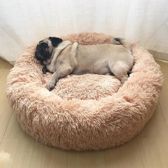 Dubex Ponchik Yuvarlak Kedi Köpek Yatağı Bej S
