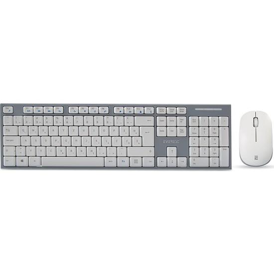 Everest KM-6063 Beyaz/Gri Kablosuz LC Layout Multimedia Klavye + Mouse Set