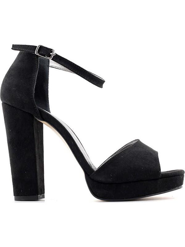 Miss Park Moda K15 Kadın Topuklu Ayakkabı Siyah Süet