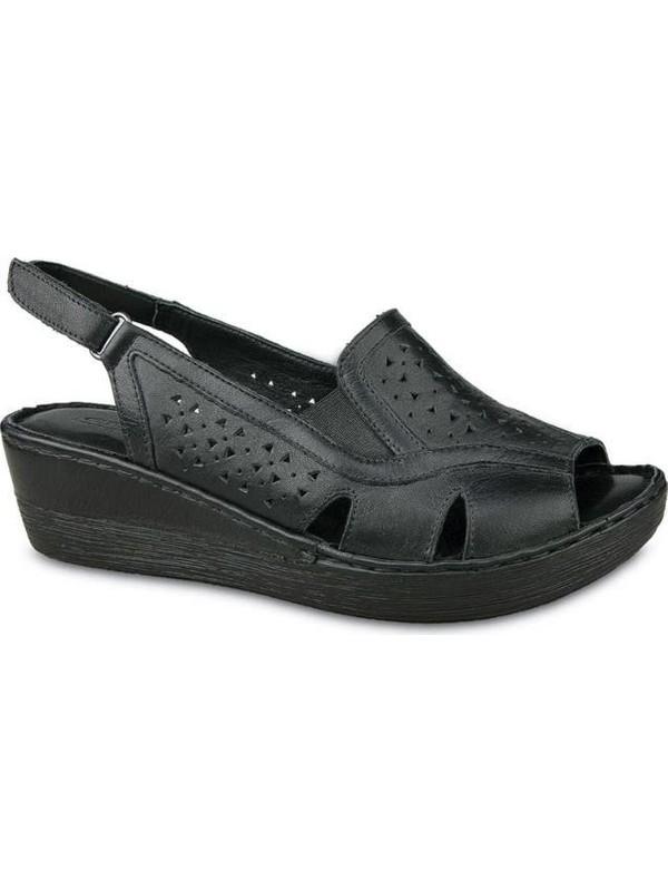 Ceyo 102 Deri Dolgu Topuk Sandalet