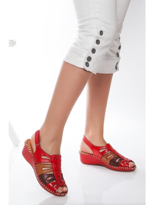 Deripabuc Hakiki Deri Kırmızı Kadın Deri Sandalet Dp14-0910