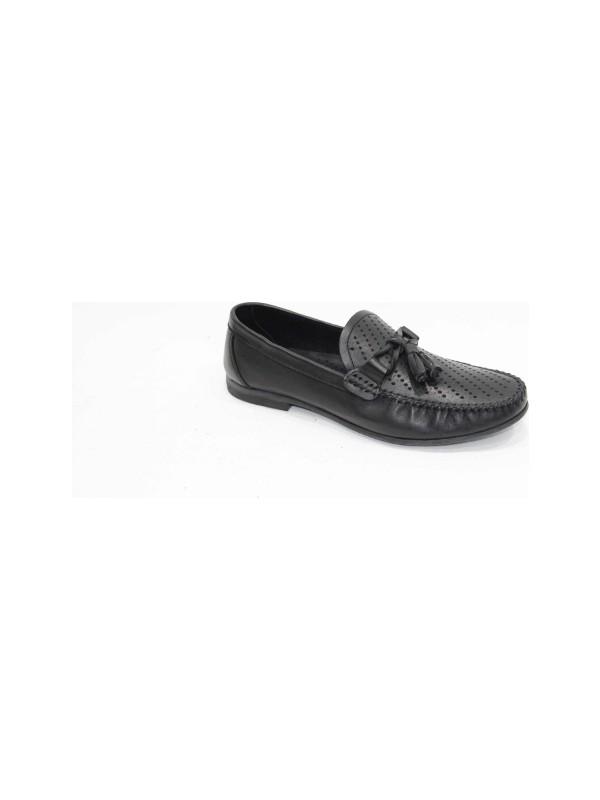 Footmark Tpu 207 Siyah Lazerli Antik Deri Ayakkabı
