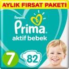 Prima Bebek Bezi Aktif Bebek 7 Beden 82 Adet XX Large Aylık Fırsat Paketi