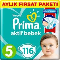 Prima Bebek Bezi Aktif Bebek 5 Beden 116 Adet Junior Aylık Fırsat Paketi
