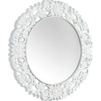 Çelik Ayna Dekoratif Büyük Yuvarlak Salon Aynası Beyaz