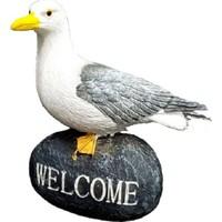 Gold Dekor Martı Biblo Kaya Üstünde Welcome