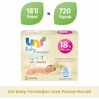 Uni Baby Yenidoğan Islak Pamuk Mendil 18'li 720 Yaprak