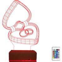 Algelsin 3 Boyutlu 3D Sevgiliye Eşe Özel 16 Renkli Masa Lambası