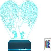 Algelsin 3D 3 Boyutlu LED Kalp Içinde Ağaç Tasarımlı 16 Renkli Masa Lambası