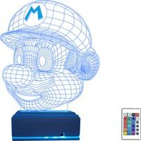 Algelsin 3D 3 Boyutlu LED Mario Tasarımlı 16 Renkli Masa Lambası