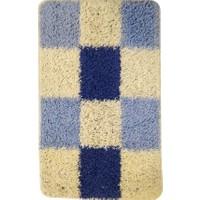 Evden Avm Kaymaz Taban Banyo Halısı Mavi Patcwork 50 x 80 cm