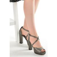 Ayakland 3210-2058 Cilt Abiye 11 Cm Platform Topuk Kadın Sandalet Ayakkabı